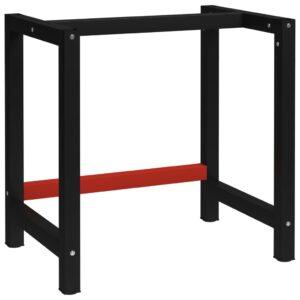 Estrutura banco de trabalho 80x57x79 cm metal preto e vermelho - PORTES GRÁTIS