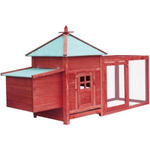 Galinheiro c/ caixa nidificação 193x68x104cm abeto vermelho - PORTES GRÁTIS