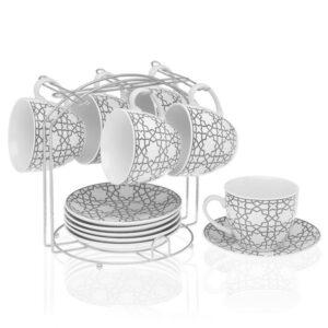 Conjunto de 6 Chávenas de Café Metal Porcelana