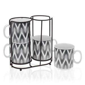 Conjunto de 4 Chávenas Metal Porcelana