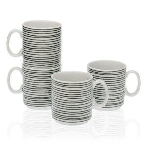 Conjunto de 4 Chávenas Black Line Porcelana