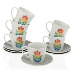 Conjunto de 12 Chávenas de Café Hamsa Porcelana