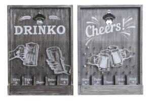 Abre-garrafas Dekodonia Cheers! Madeira MDF (2 pcs) (33 x 7 x 46 cm)