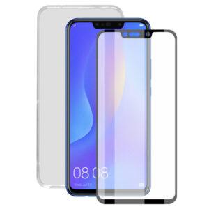 Protetor de vidro temperado para o telemóvel + Estojo para Telemóvel Huawei Mate 20 Lite Contact
