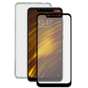 Protetor de vidro temperado para o telemóvel + Estojo para Telemóvel Pocophone F1 Contact