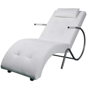 Chaise longue com almofada couro artificial branco - PORTES GRÁTIS
