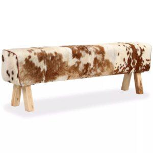 Banco em couro de cabra genuíno 160x28x50 cm - PORTES GRÁTIS