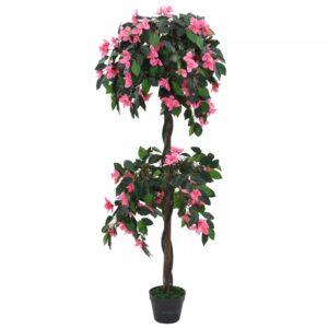 Planta rododendro  artificial com vaso 155 cm verde e rosa - PORTES GRÁTIS