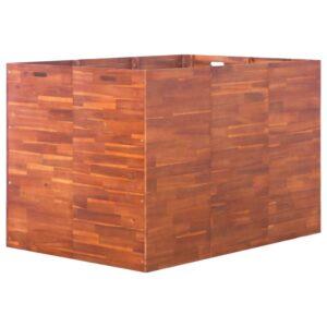 Canteiro elevado de jardim 150x100x100 cm madeira de acácia - PORTES GRÁTIS