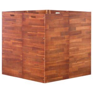 Canteiro elevado de jardim 100x100x100 cm madeira de acácia - PORTES GRÁTIS