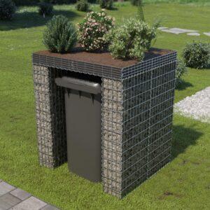 Muro gabião p/ caixote do lixo aço galvanizado 110x100x130 cm - PORTES GRÁTIS