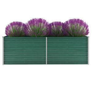 Canteiro elevado de jardim aço galvanizado 240x80x77 cm verde - PORTES GRÁTIS