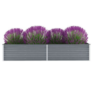 Canteiro elevado de jardim aço galvanizado 240x80x45cm cinzento - PORTES GRÁTIS