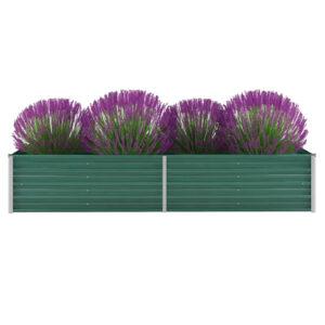 Canteiro elevado de jardim aço galvanizado 240x80x45 cm verde - PORTES GRÁTIS