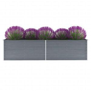 Canteiro elevado de jardim aço galvanizado 320x80x77cm cinzento  - PORTES GRÁTIS