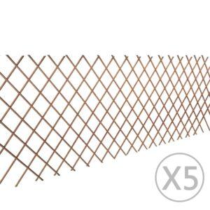 Cerca em treliça salgueiro 5 pcs 180x90 cm - PORTES GRÁTIS