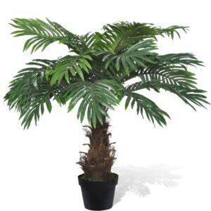 Palmeira artificial, realista, cycus, com vaso de 80cm - PORTES GRÁTIS