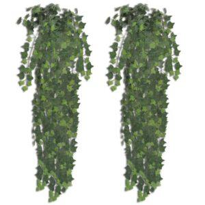 Arbusto de hera, artificial, em verde, 2 peças, 90 cm - PORTES GRÁTIS
