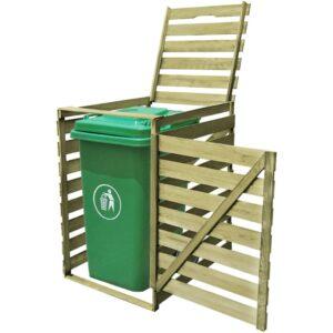 Abrigo para caixote do lixo 240 L madeira impregnada FSC  - PORTES GRÁTIS