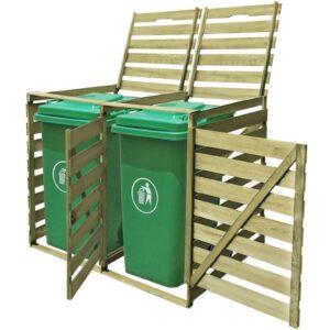 Abrigo duplo para caixote do lixo 240 L madeira impregnada FSC  - PORTES GRÁTIS