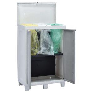 Caixote de lixo p/ jardim c/ 3 sacos cinzento claro 65x38x102cm - PORTES GRÁTIS