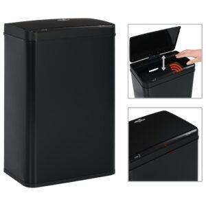 Caixote do lixo com sensor automático 60 L aço preto - PORTES GRÁTIS