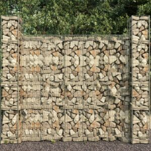 Cestos gabião 3 pcs aço galvanizado 25x25x197 cm - PORTES GRÁTIS
