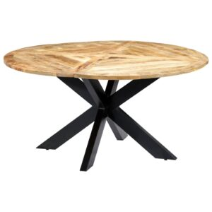 Mesa de jantar redonda 150x76 cm madeira de mangueira maciça  - PORTES GRÁTIS