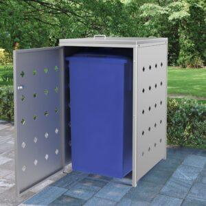 Abrigo para caixote do lixo 240 L aço inoxidável  - PORTES GRÁTIS