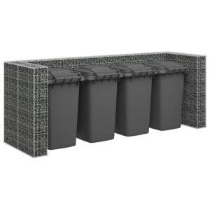 Muro gabião p/ caixotes do lixo aço galvanizado 320x100x120 cm - PORTES GRÁTIS