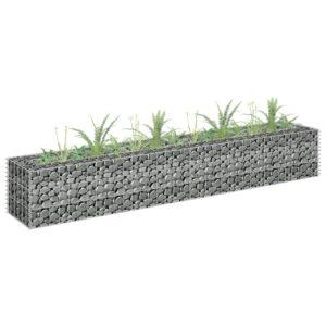 Gabião para plantas em aço galvanizado 180x30x30 cm - PORTES GRÁTIS