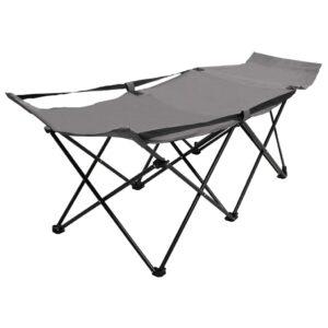 Espreguiçadeira/cama dobrável aço cinzento - PORTES GRÁTIS