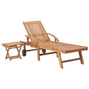 Espreguiçadeira com mesa madeira teca maciça  - PORTES GRÁTIS
