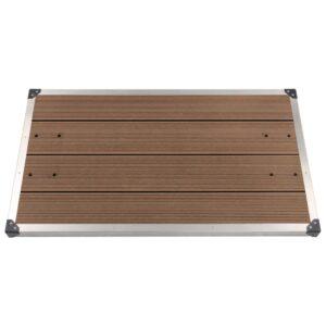Base chuveiro p/ exterior 110x62 cm WPC aço inoxidável castanho - PORTES GRÁTIS