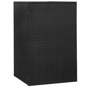Unidade arrumação caixote do lixo 76x78x120 cm vime PE preto  - PORTES GRÁTIS