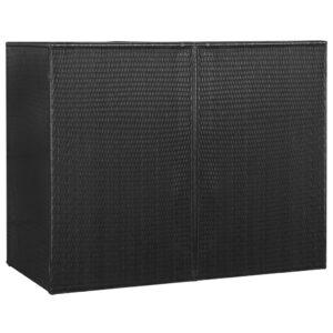 Unidade dupla p/ caixotes do lixo vime PE 153x78x120cm preto - PORTES GRÁTIS