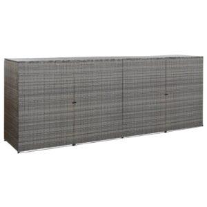 Unid. quadrupla caixote do lixo vime PE 305x78x120 cm antracite - PORTES GRÁTIS