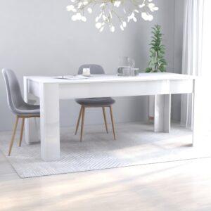 Mesa de jantar 180x90x76 cm contraplacado branco brilhante - PORTES GRÁTIS