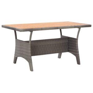 Mesa de  130x70x66 cm madeira de acácia maciça cinzento - PORTES GRÁTIS