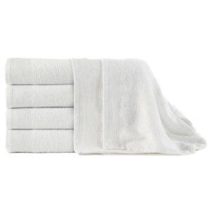 Toalhas de banho 5 pcs algodão 450 g 100x150 cm branco - PORTES GRÁTIS