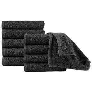Toalhas de hóspedes 10 pcs algodão 450 g 30x50 cm preto - PORTES GRÁTIS