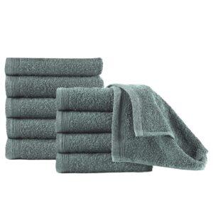 Toalhas de hóspedes 10 pcs algodão 450 g 30x50 cm verde - PORTES GRÁTIS