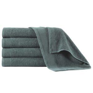 Toalhas de banho 5 pcs algodão 450 g 70x140 cm verde - PORTES GRÁTIS