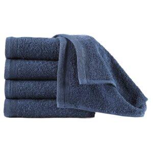 Toalhas de hóspedes 10 pcs algodão 450 g 30x50 cm azul-marinho - PORTES GRÁTIS