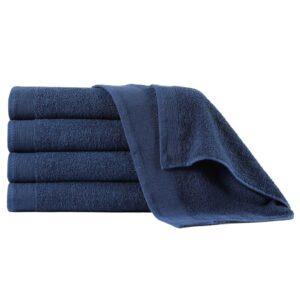 Toalhas de mãos 5 pcs algodão 450 g 50x100 cm azul-marinho - PORTES GRÁTIS