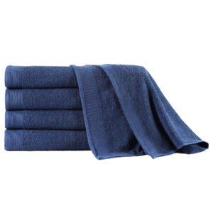 Conj. toalhas banho 5 pcs algodão 450 g 100x150 cm azul-marinho - PORTES GRÁTIS