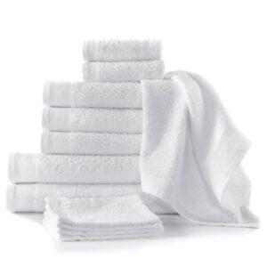 Conjunto de toalhas 12 pcs algodão 450 g branco - PORTES GRÁTIS