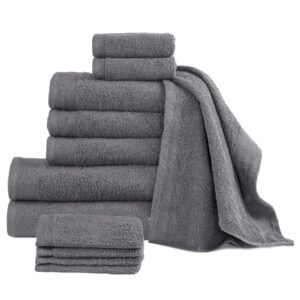 Conjunto de toalhas 12 pcs algodão 450 g antracite - PORTES GRÁTIS