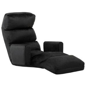 Sofá-cama sem pés e com apoio de braços tecido preto - PORTES GRÁTIS