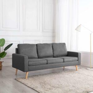 Sofá de 3 lugares tecido cinzento-claro - PORTES GRÁTIS